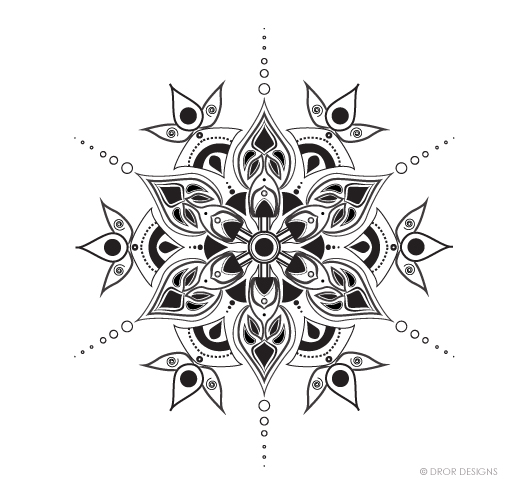 Dror Designs Mandala sketched in pen and then transferred to Adobe Illustrator